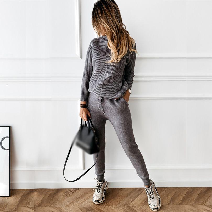 Sonbahar Kış Tyhru kadın Eşofman Katı Renk Çizgili Balıkçı Yaka Kazak ve Elastik Pantolon Takım Elbise Örme İki Plug T7RG