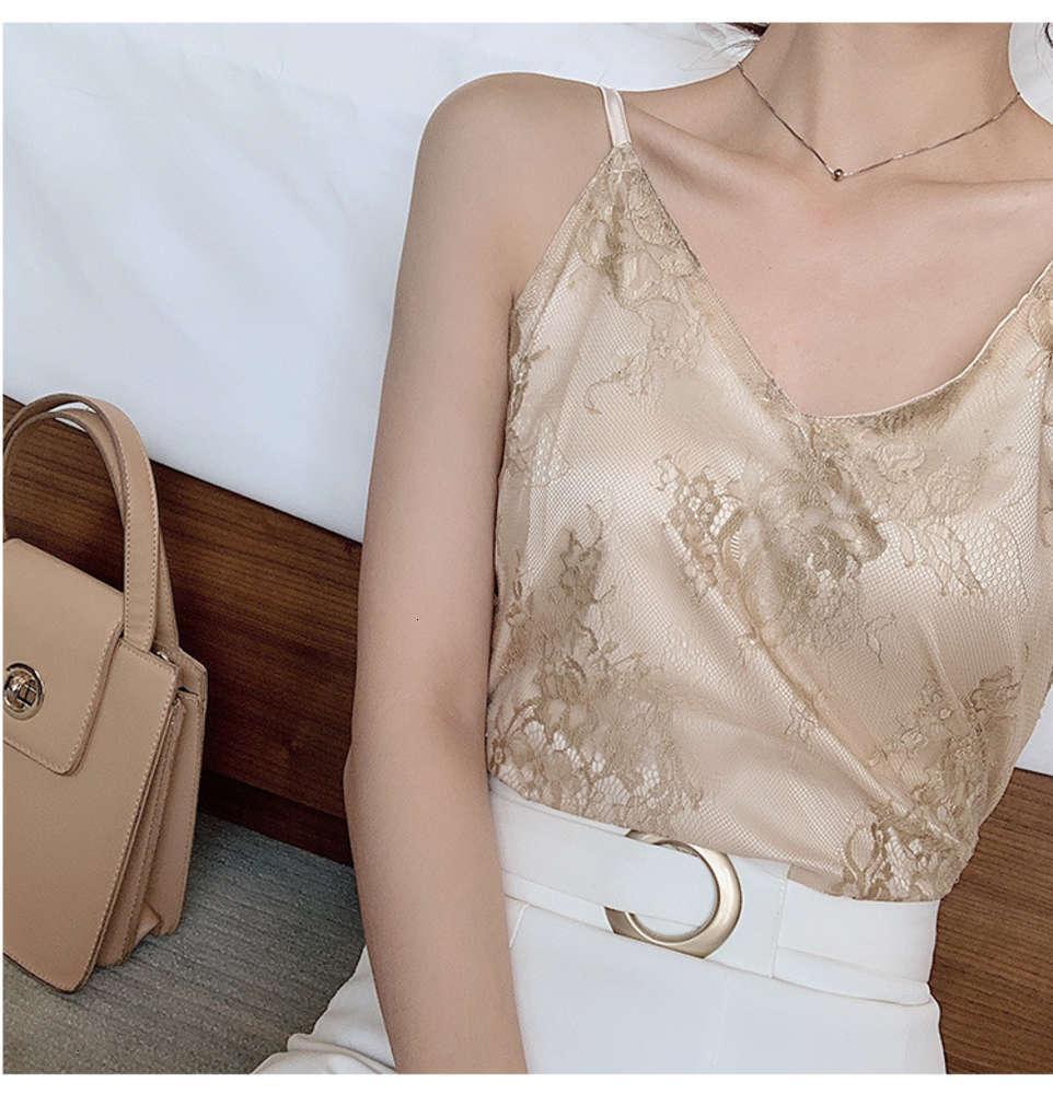 Chaleco de suspensión para las mujeres 2021 primavera y verano Nuevo encaje con cuello en V cuello alto Camis