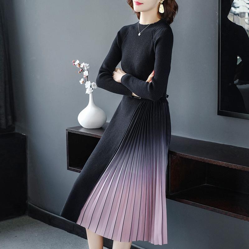 Moda coreana maglione abito da donna maglia maglioni abiti vestito da donna pieghettato vestito plus size donna maglioni spessi vestiti eleganti