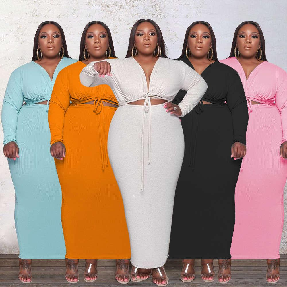 ZJFZML ZZ Damen Kleidung Kleider plus Größe Drapierte Kordelzug Langarm V-Ausschnitt Party Clubwear Wrap Kleid Dropshipping Großhandel