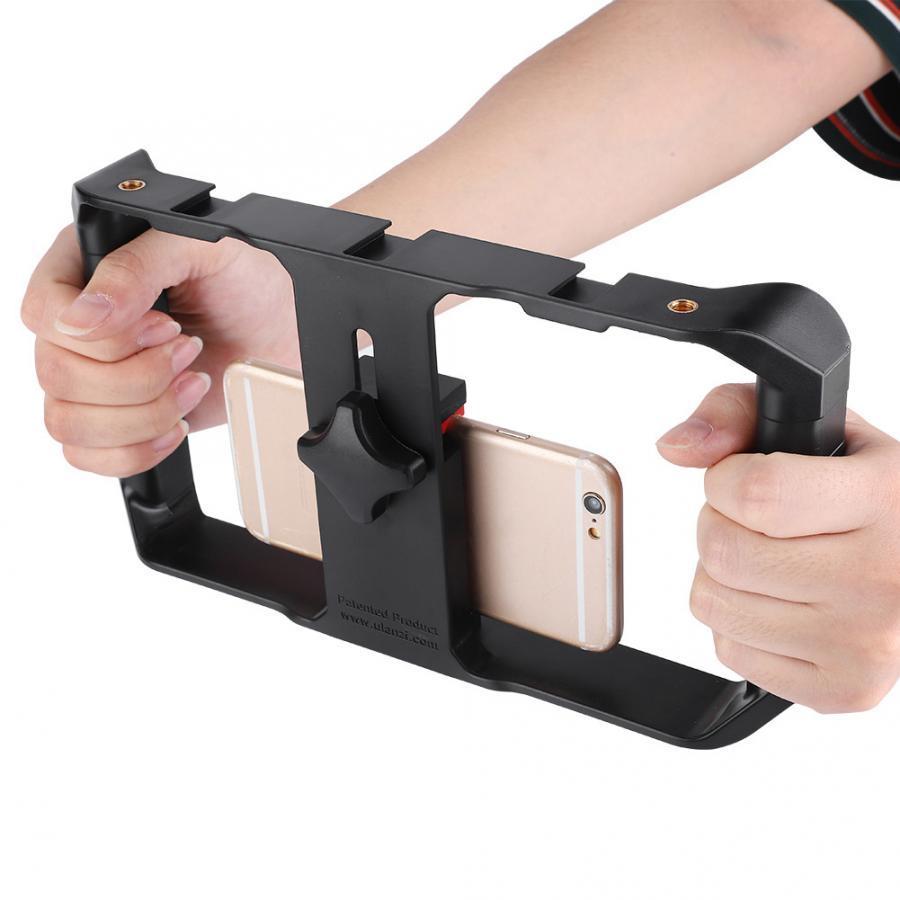 Smartphone handheld video rig w / 3 schuhmontage film make case bracket stabilizer für iphone samsung Alle Telefone