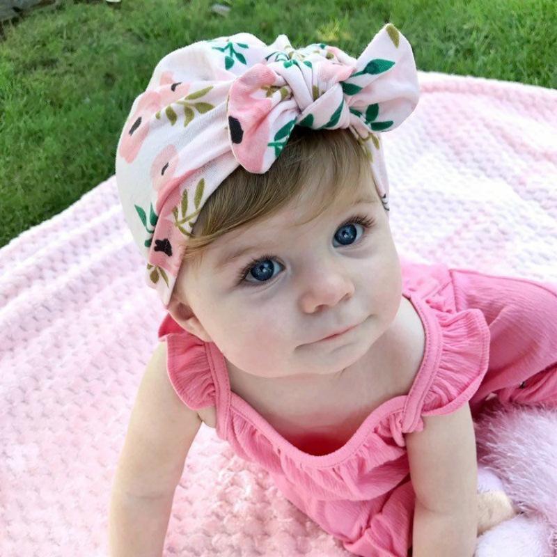 Baby Girl Tabban Wrap Bunny Car Cap In Индийская напечатанная шляпа для завязанности милый новорожденный Photo Photo Sprit Hat модные аксессуары BT6435