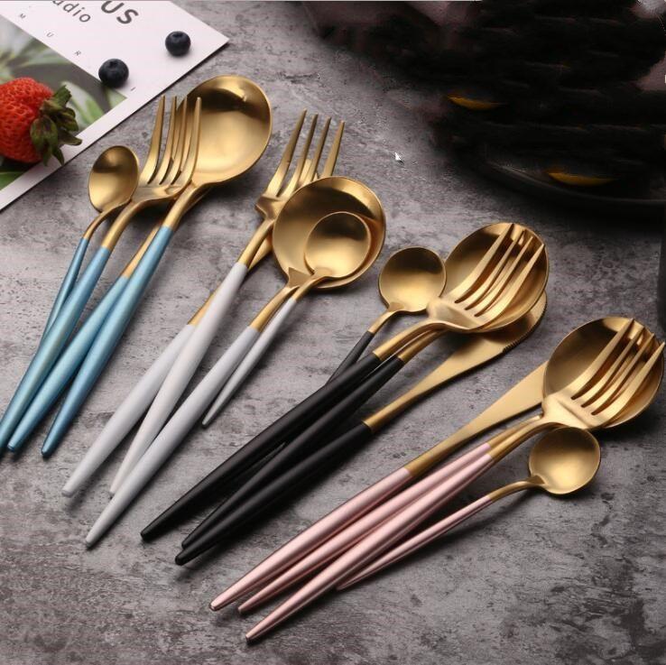 Flatware Set Dinner Knife Fork Spoon Black Gold Cutlery 4Pcs/set Stainless Steel Dinnerware Silverware Kitchen Tools