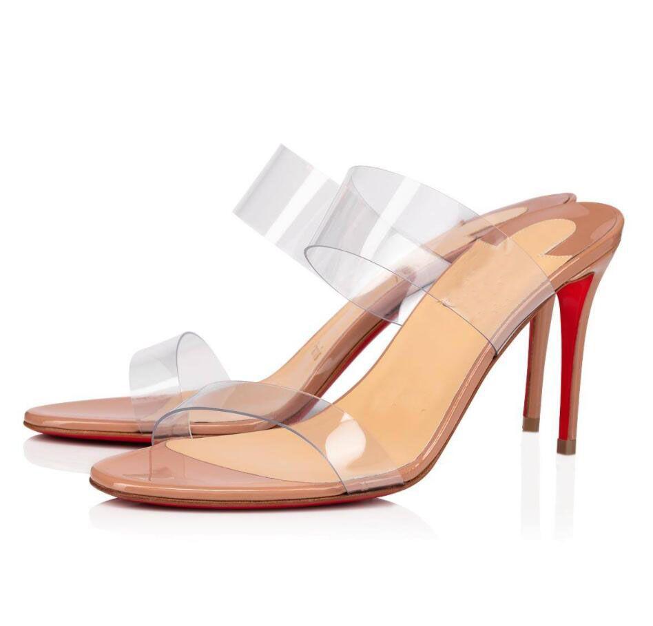 완벽한 디자이너 그냥 슬리퍼 패션 섹시한 여성 브랜드 레드 바닥 노새 샌들 드레스 결혼식을위한 고품질 레이디 하이힐