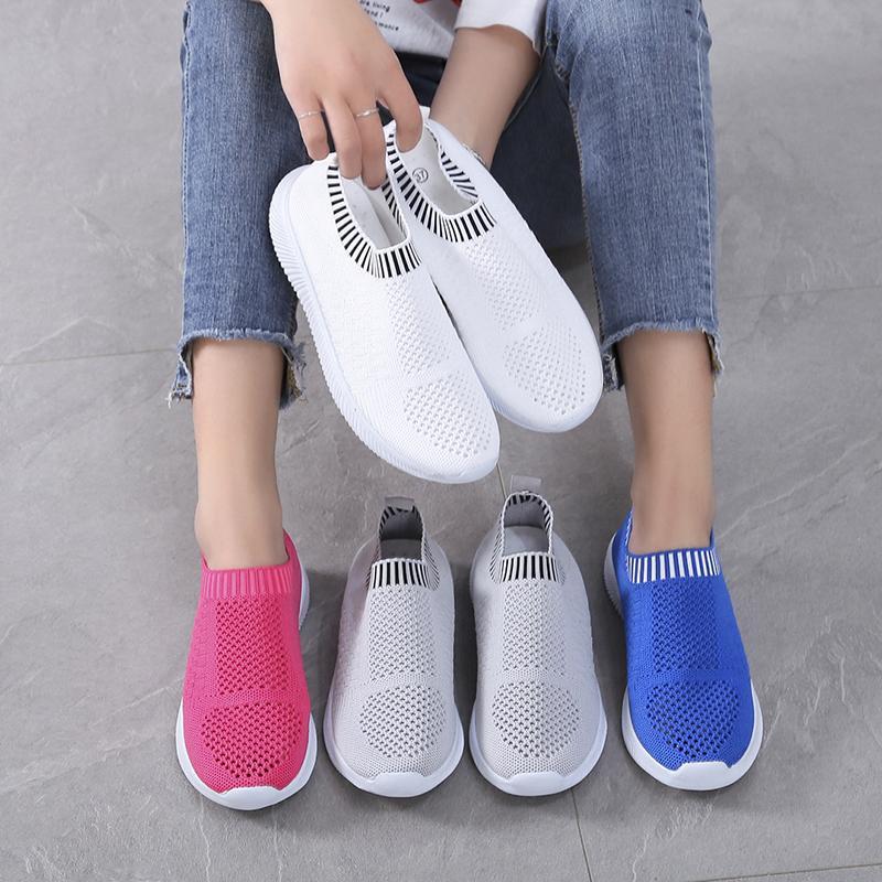 Artı Boyutu 35-43 Kadın Ayakkabı Örme Çorap Sneakers Düz Ayakkabı Üzerinde Kayma Kadın Loafer'lar Flats Famela Rahat Ayakkabı Tenis 7610n