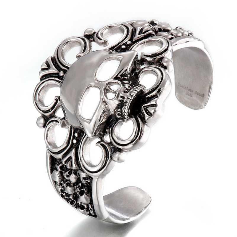Bracelet de bijoux en acier inoxydable 316L Accessoires de bracelet à visage large creux creux S175
