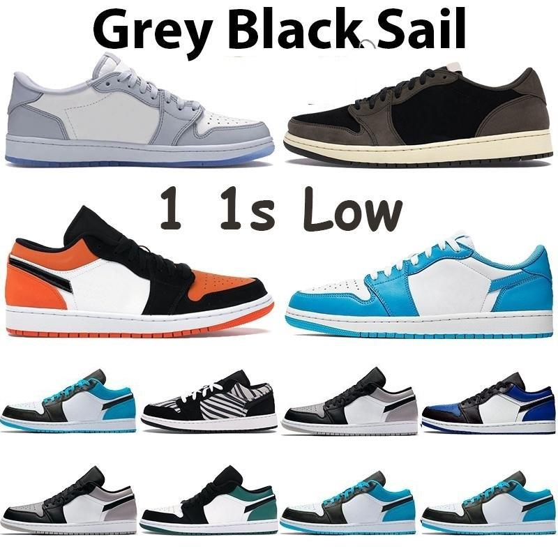 1S Baja Luz Smoke Grey Mens Zapatos Retorneados Tablero 1 Satin Snake Unc Blanco A Chicago Mujeres Travis Scotts Sneakers