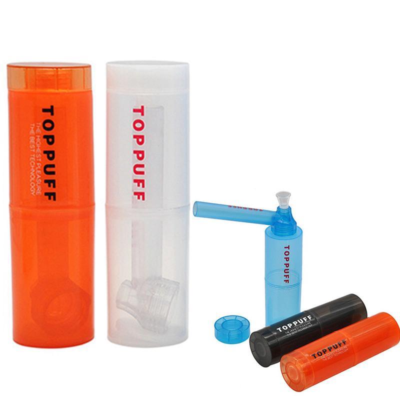 도매 toppuff 미니 플라스틱 파이프 다채로운 흡연 핸드 파이프 스트레이트 튜브 pyrex 오일 버너 파이프 bubbler 담배 흡연 ac119