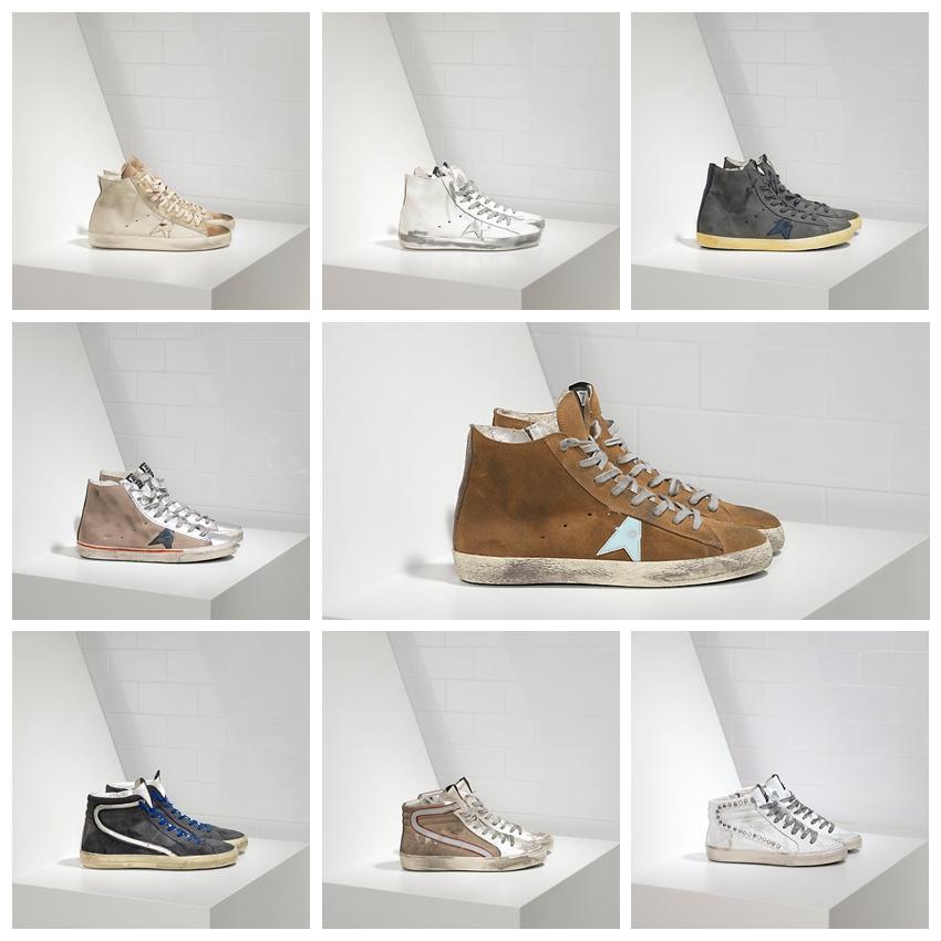 Goldener Slide Sneakers High Shoe Top Italian Deluxe Marke Classic Do-Alte alte schmutzige Schuhe Gans Designer Mann Frauen Trainer G33MS590 Original