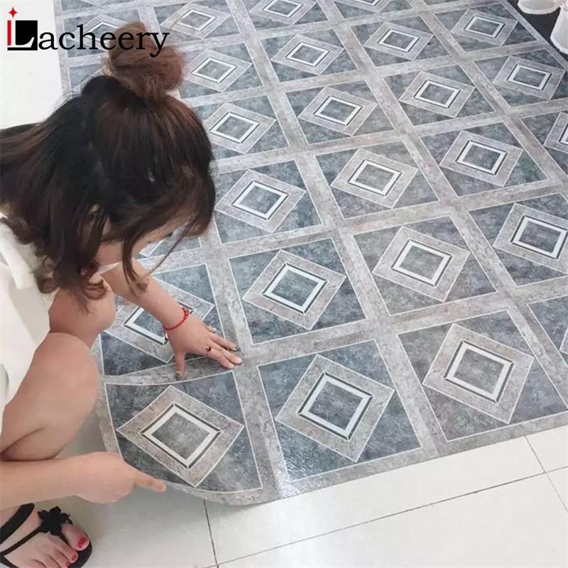 Pegatina de piso de mármol autoadhesivo grueso Panel de pared decorativo para cocina a prueba de agua Azulejos Pegatinas de tierra para el hogar Decoración de decoración 210310