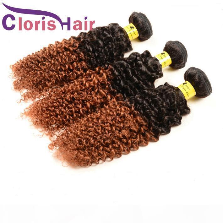 İki Ton Sarışın Ombre Demetleri Kinky Kıvırcık Malezya Virgin İnsan Saç Dokuma Renkli 1B 30 Afro Kinky Kıvırcık Kahverengi Auburn Saç Uzantıları