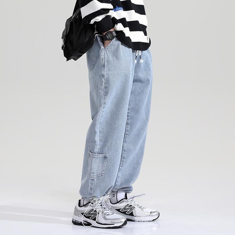 2021 Printemps Harem Denim Hommes et Femmes Taille élastique Cropper Cowboy Pantalons Fashion Street Jean Jogger Pantalon Homme Femme