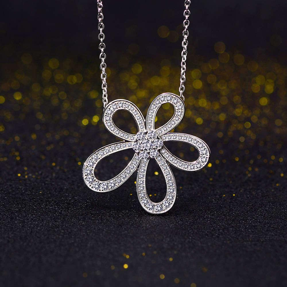 HBP Fashion New S925 Sterling Silber Luxus Micro Inlaid Hohe Carbon Diamant Blume Halskette mit Clawicle Kette Dinner Party