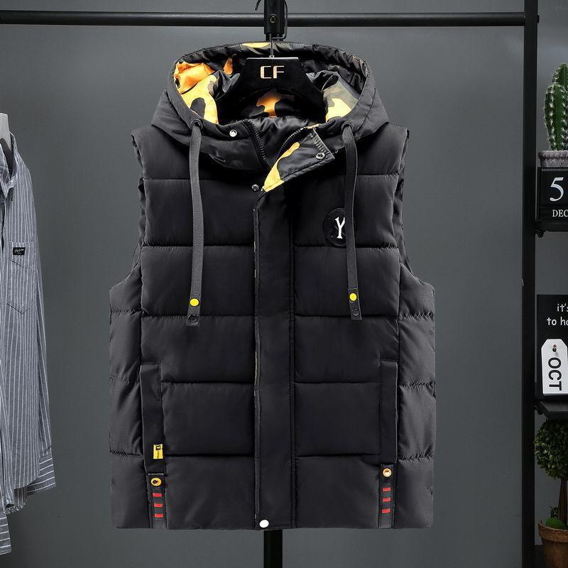 2021 Новая осенью и зима вниз хлопчатобумажная шаль молодых студентов с капюшоном Trend мужской теплый жилет