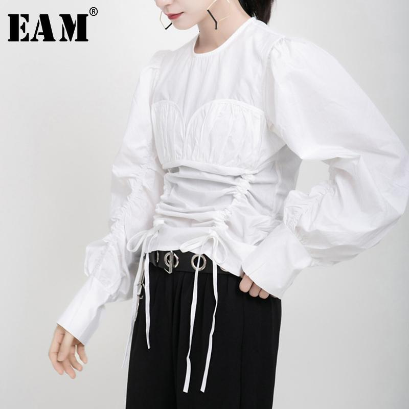 [EAM] Kadınlar Pileli İpli Bluz Yeni Yuvarlak Boyun Uzun Kollu Gevşek Fit Gömlek Moda Gelgit İlkbahar Sonbahar 2021 19A-A176