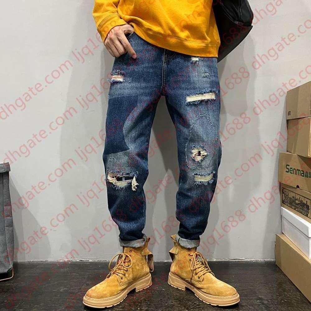 Мужские разорванные джинсы патча мешковатые джинсы с высокой талией шить карандаш брюки бойфрес хип-хоп модная уличная улица