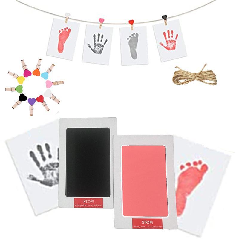 Nouveaunon-toxique Bébé Footprints Fournisseur de Facture Tools Craft Craft Aucun Kits de tampons d'encre Inkless sans contact pour 0-6 mois Pet Paw Patchs Images Souvenir EWB8071