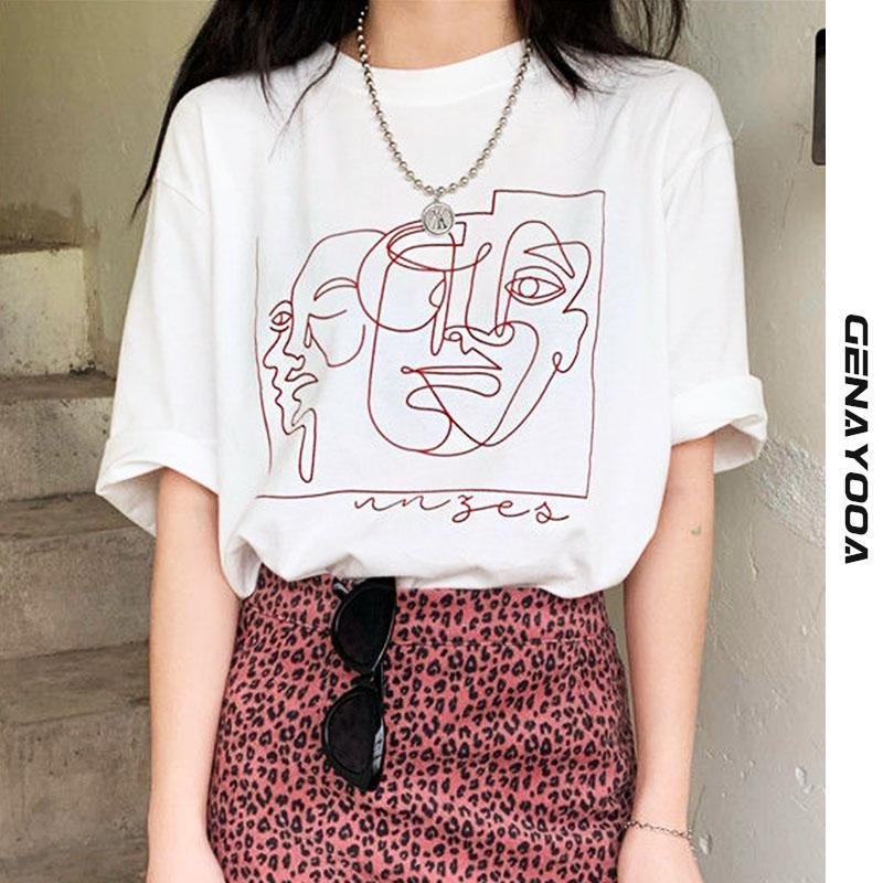 Genayooa Streetwear Абстрактные футболки печать женские топы летние белые хлопчатобумажные футболки Femme Harajuku Одежда корейский Y2K