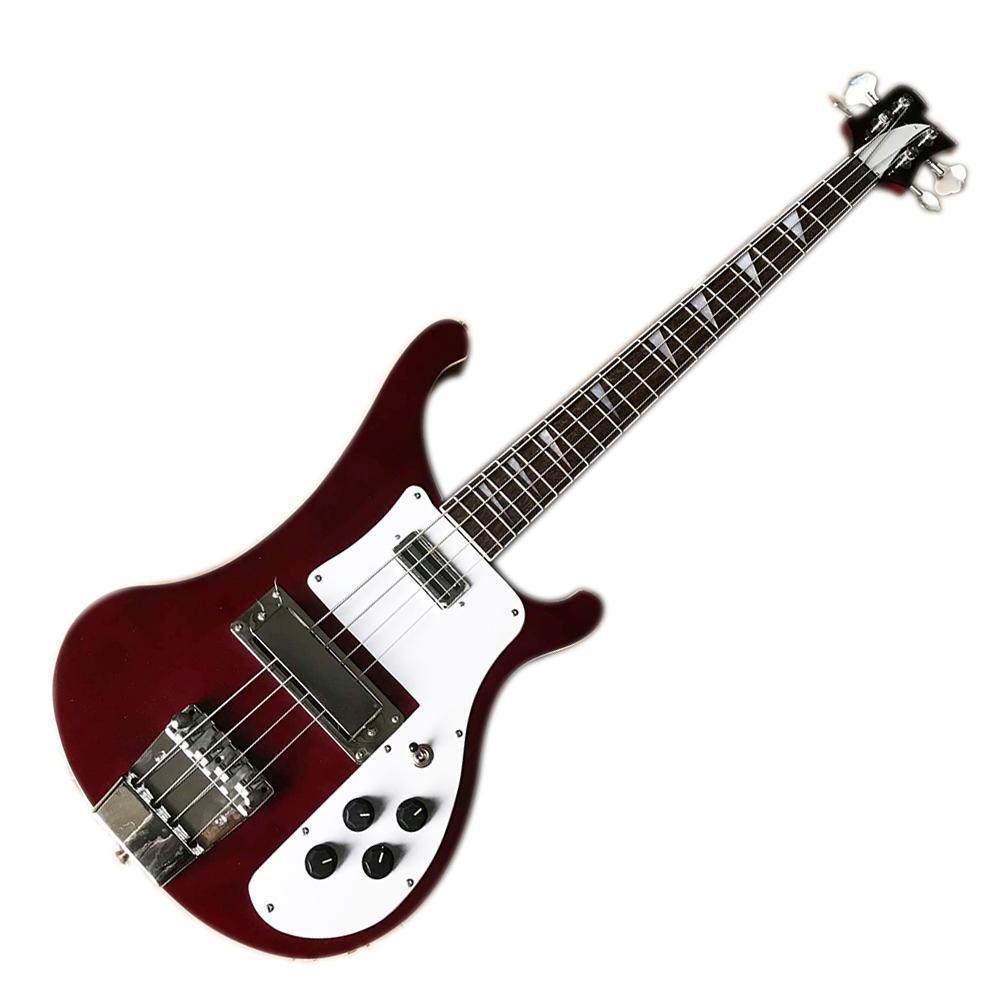 Vino rojo 4 cuerdas 4003 Ricken Electric Bass Guitarra con deshecho de palisandro, cuello a través del cuerpo