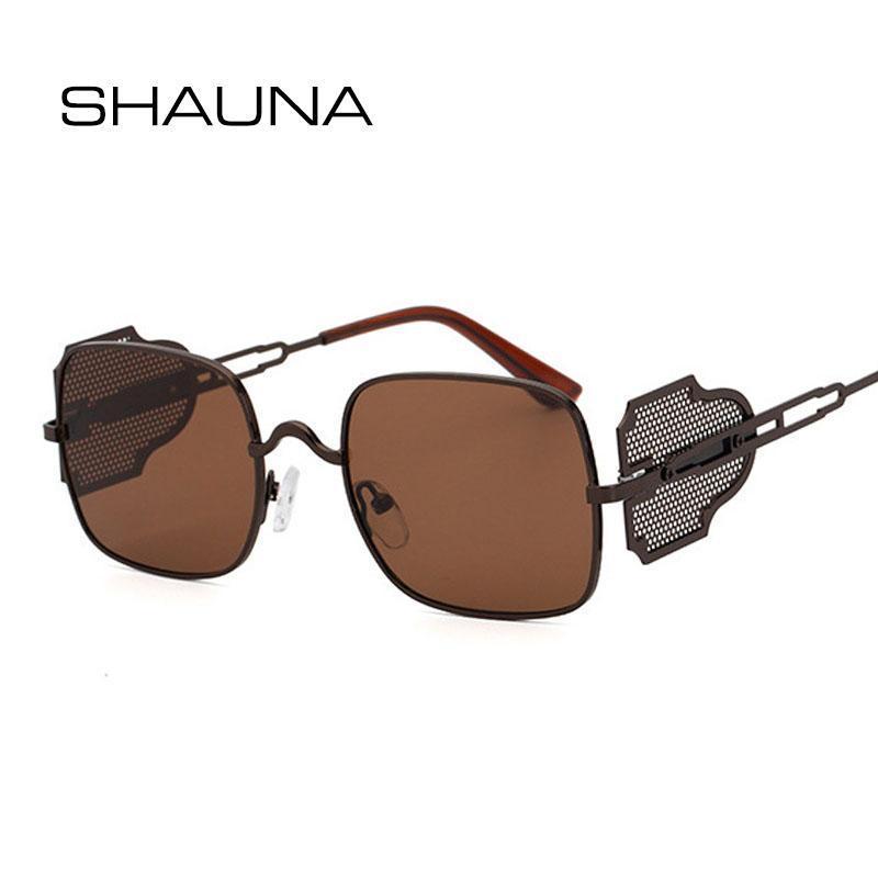 Солнцезащитные очки Шауна Ретро Металлический Панк Мода Квадрат Сьюпанк оттенки UV400