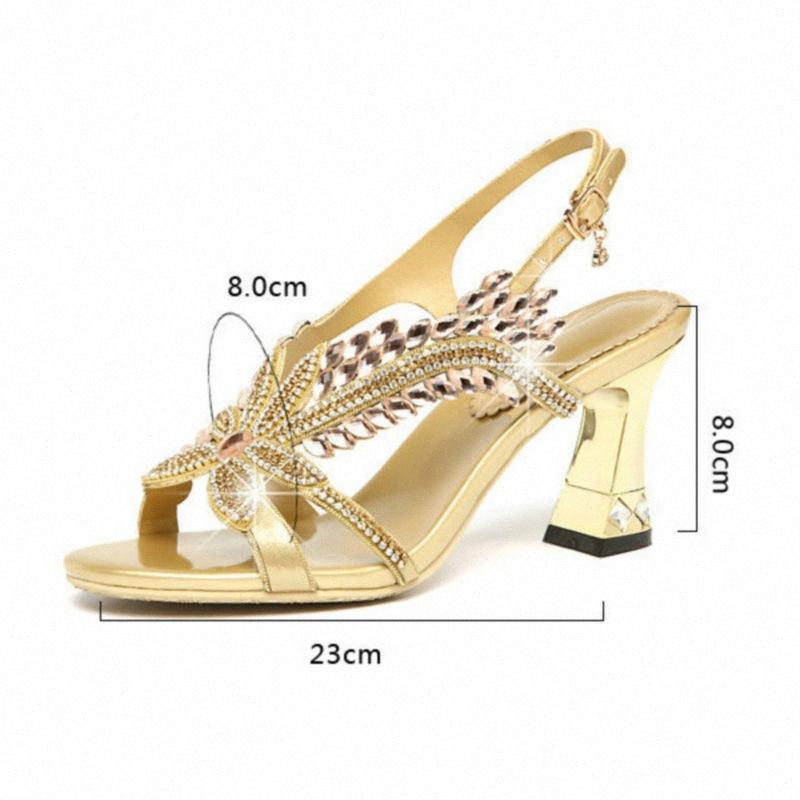 2020 Женщины Летние Сияние Горный Хрусталь Сандалии Рыба рта Обувь Алмазные каблуки Корейский сандалии на высоком каблуке Римская мода V39J #