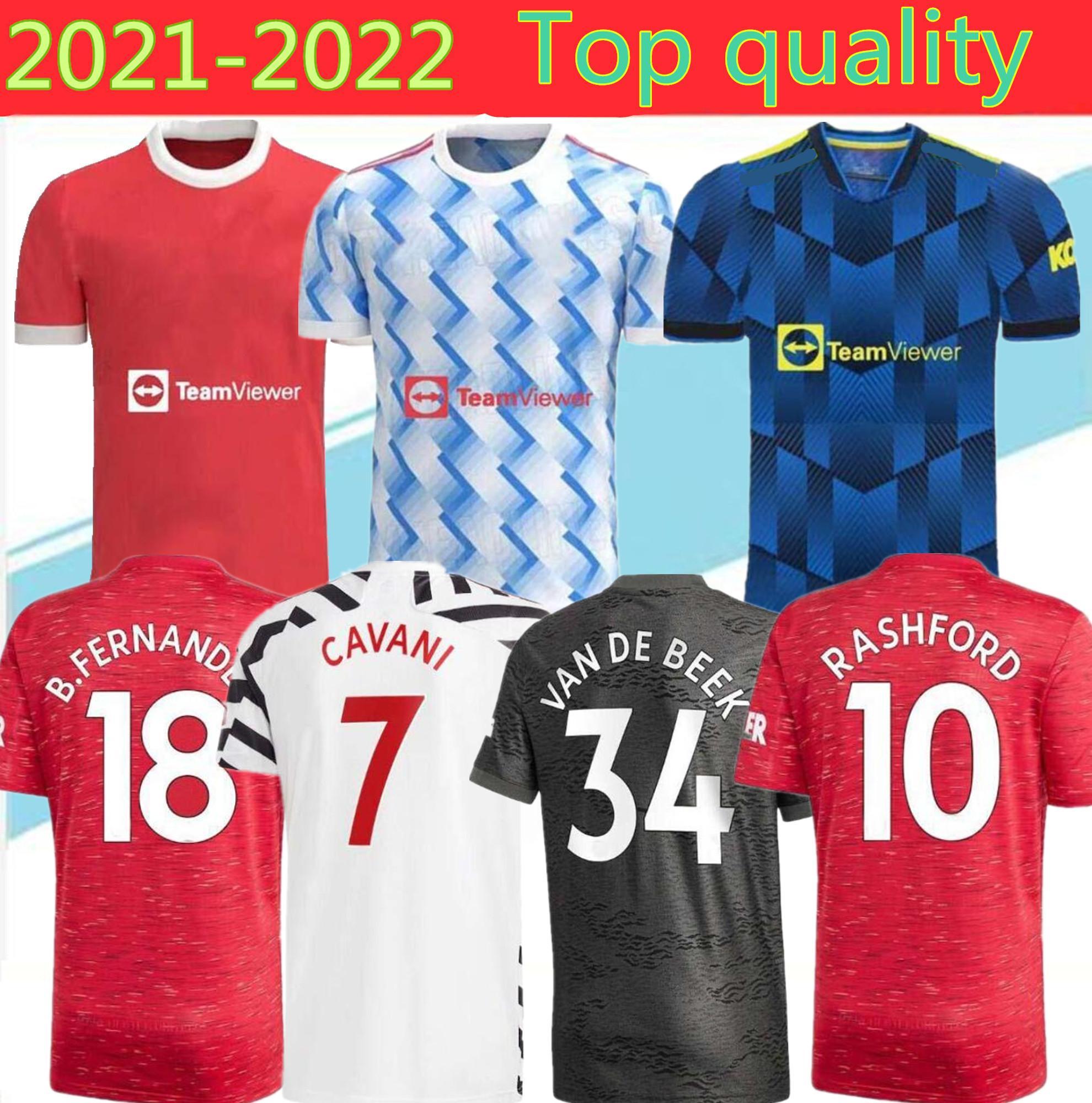 الرجال + الاطفال 2021 كرة القدم الفانيلة الولايات المتحدة كافاني UTD فان دي بيك B. فرنانديز راشفورد قميص كرة القدم 21 22 كيت HumeRrace الرابع