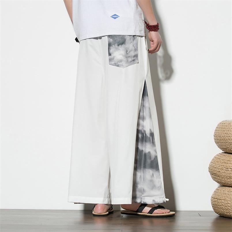 Plus Größe M-5XL Sommer Chinesische Lose Harem Hanfu Hosen für Männer Weiß Schwarz Thai Japan Kimono Bloomers Bottoms 210603