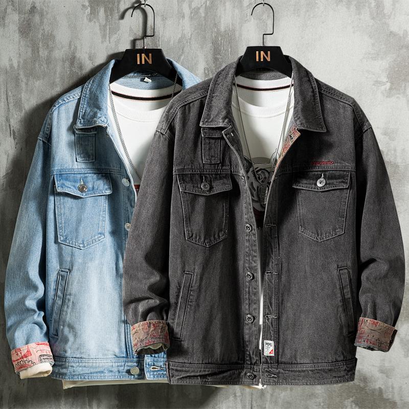 2021 Sonbahar Yeni erkek Açık Mavi Vintage Ceket Moda Rahat Streetwear Koyu Gri Denim Ceket Erkek Marka Giysileri Lufc