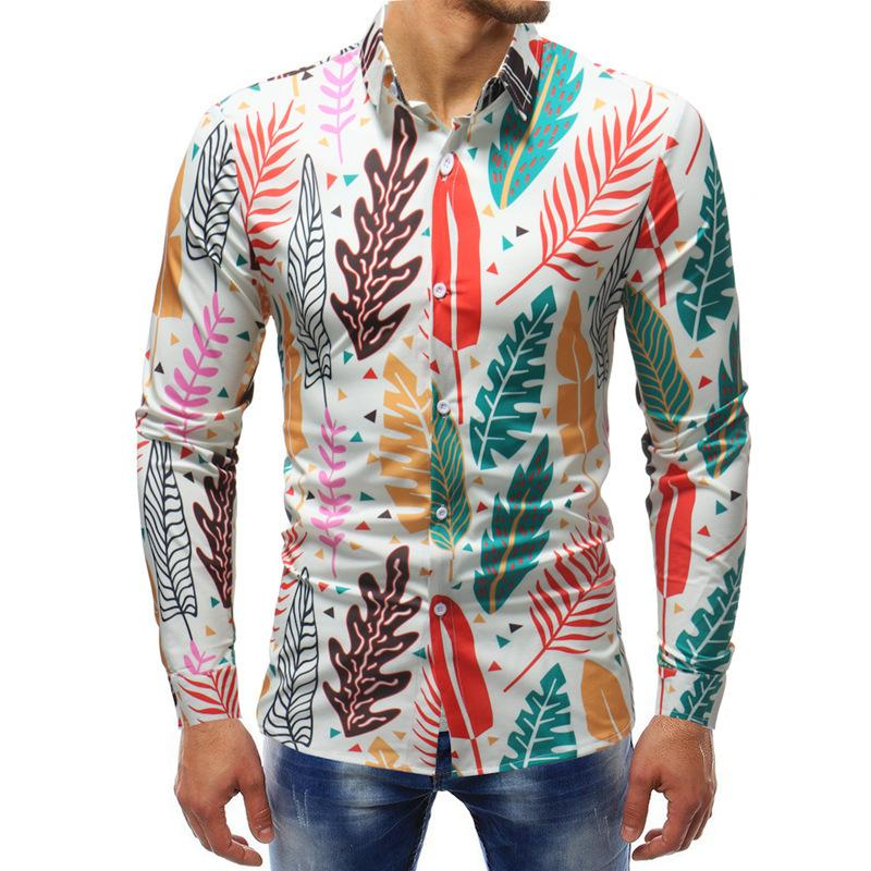Листья печать рубашки с длинными рукавами для мужского платья рубашки мужские тонкие и подходят рубашки Новое прибытие