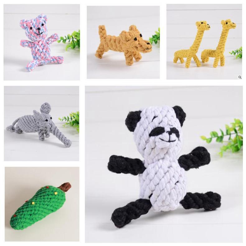 Hund Kauen Spielzeug für Beißringe Welpen Handgemachte waschbare Baumwolle Spieltime Spielzeug Elepant Giraffe Weihnachtsbaum 6 Arten Sichere Material GWA7611
