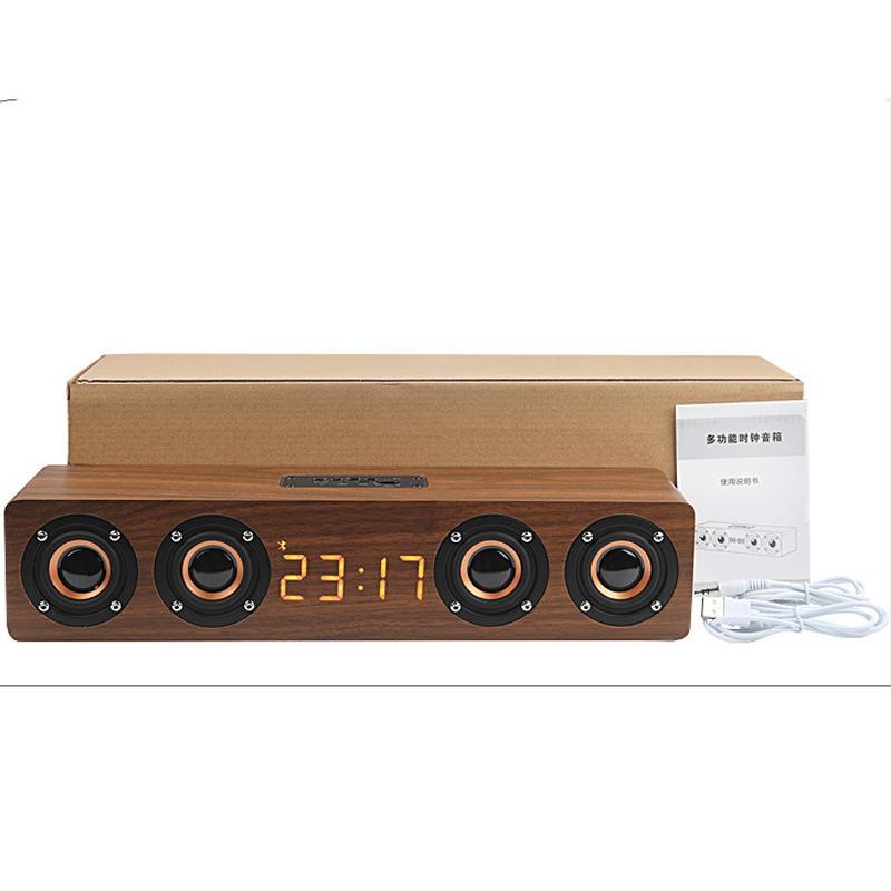 HIFI Home theater portable wood speaker Bluetooth column Wireless speaker Alarm Clock Radio Subwoofer Soundbar TV speaker For PC