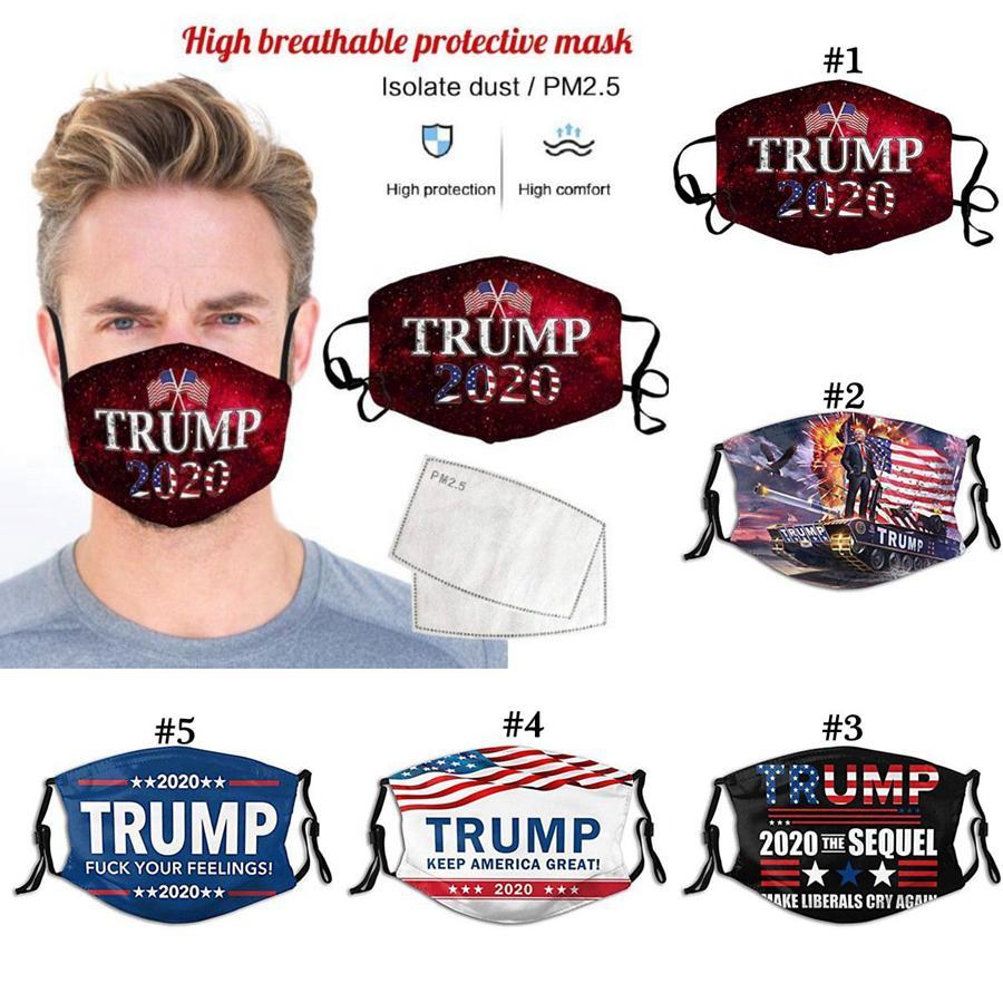 Dust Trump Face Masque Anti Trump 2020 Lettre Imprimé Filtre lavable respirant aux États-Unis Élection Réutilisable Masques de visage OOA8295