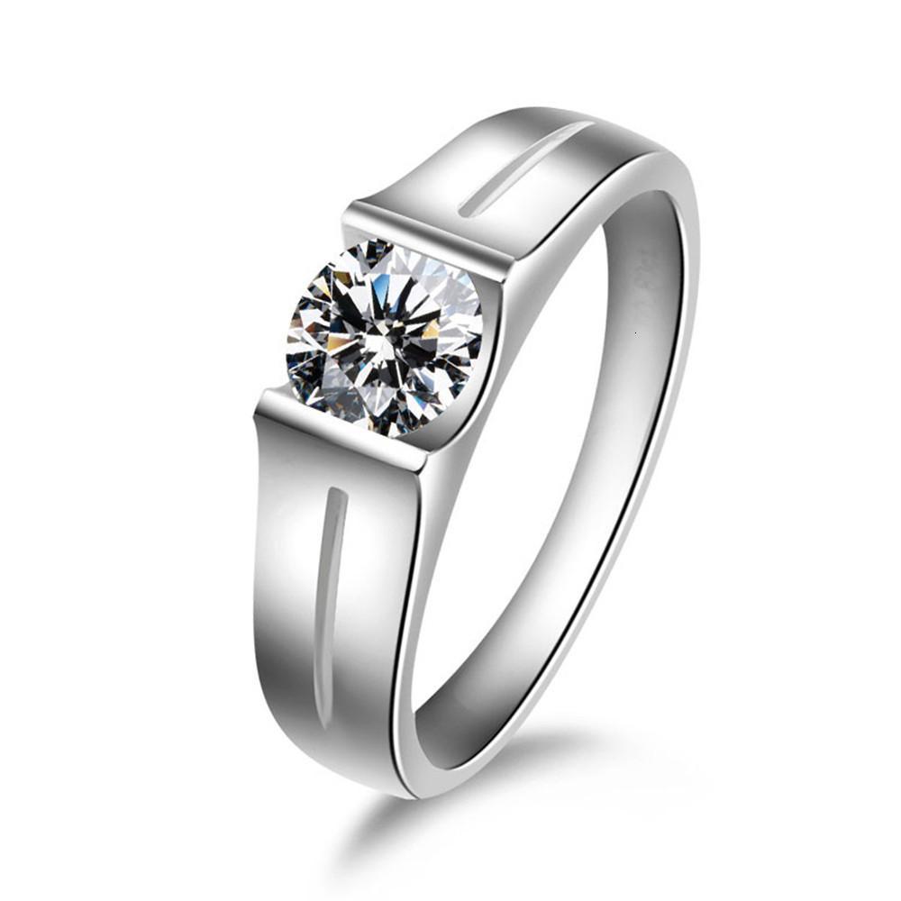 HBP الأزياء شي Pei شعبية مجموعة الاستبداد بسيطة الماس جولة الحجر الرئيسي 8.0 متعدد الاستخدامات حلقة زوجين الساخنة