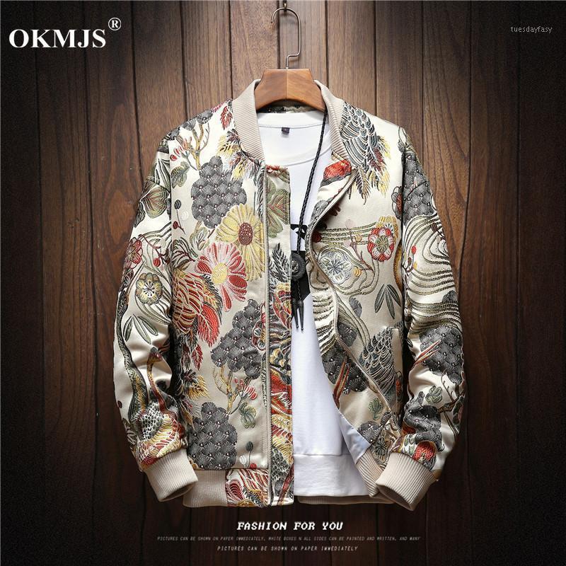 Homens Jackets Japoneses Bordado Homens Casaco Casaco Homem Hip Hop Streetwear Bomber Roupas Mens e Casacos 20211