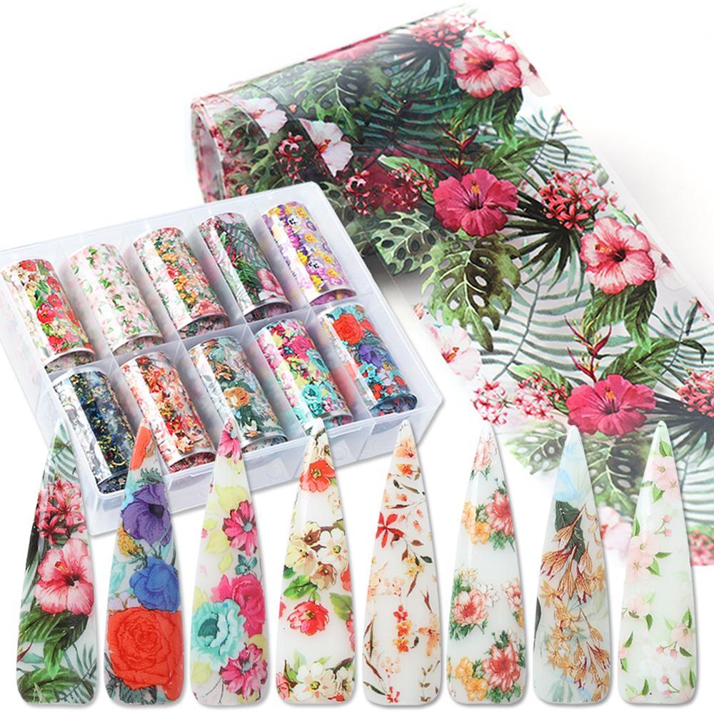 10 adet Tırnak Folyolar Çiçekler Yaprak Folyolar Kağıt Nail Art Transferi Sticker Slider Sarar DIY Manikür Çıkartmaları Süslemeleri Laxkh40-54-1