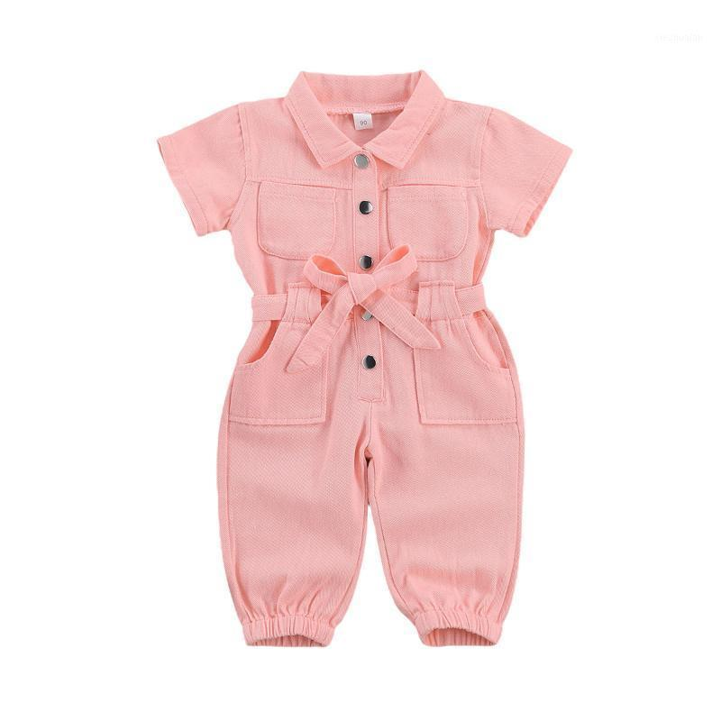 Комбинезоны FocumentNorm 2021 Мода Девушки 'Комбинезон для девочек Одежда с короткими рукавами Одиночные погружные Окружающие воротниковые комбинации 1-6Y1