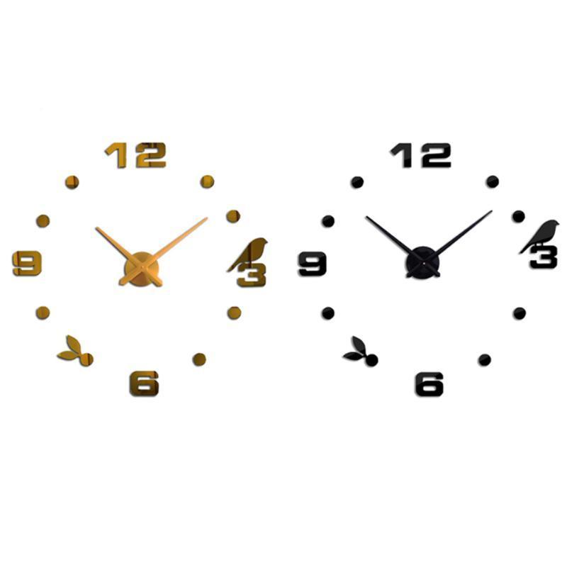 Wall Clocks Bedroom Clock Fashion Living Room Interior Design DIY Craft Office Acrylic Home Decoration Quartz Needle Sticker Easy Apply