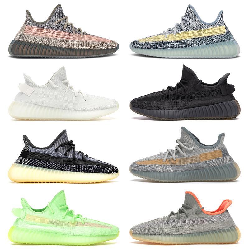 boost 350 v2 2020 nueva calidad TAMAÑO 36-48 Kanye West Hombres Mujeres GID Glow Tenis Zapatos para correr Lino Tail Light Cinder Desert Sage Zapatillas deportivas Zapatillas