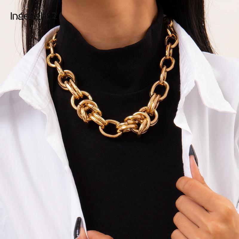 Ingesight.z steampunk rocher chunky épais curbing chain collier de cou de cou en métal exagéré métal torsadé nœud collier collier femmes bijoux