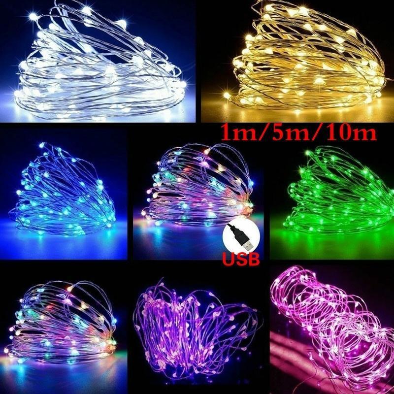 1m 5m 10m LED String Fairy Lights USB Kupfer Draht Hochzeit Festival Weihnachtsfeier Dekoration Licht Wasserdichte Außenbeleuchtung
