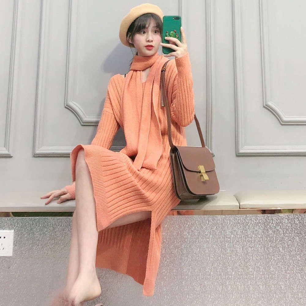 Платья темперамент и цвет зима солидные 2 элегантные длинные длинные осенние рукава средней длины тонкий удобный простой шерстяное платье с шарфом 5199 горячая