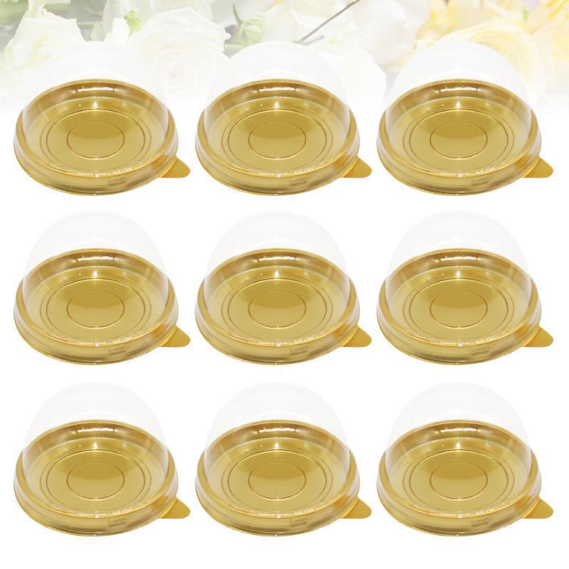 100 pcs redondo egg-yolk bufão recipiente transparente mooncake cúpula caixas de embalagem de cozimento (bandeja de ouro)