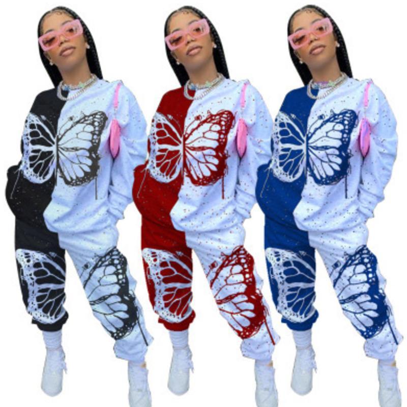 Frühling Frauen Schmetterling Patchwork Trainingsanzug Gedruckt Langarm Tops T-Shirt Hosen Zwei Teile Outfits Kleidung Damen Casual Sets JY20135