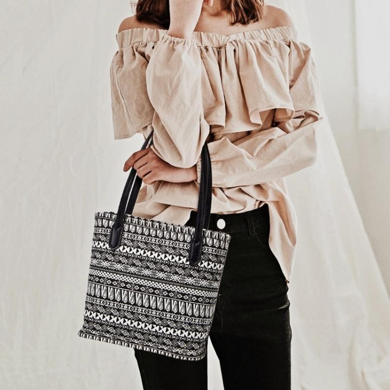 HBP Vintage Ulusal Rüzgar Baskı Tuval Kova Çanta 2021 Yaz Bayanlar Tek Omuz Çanta Moda Tote Çanta
