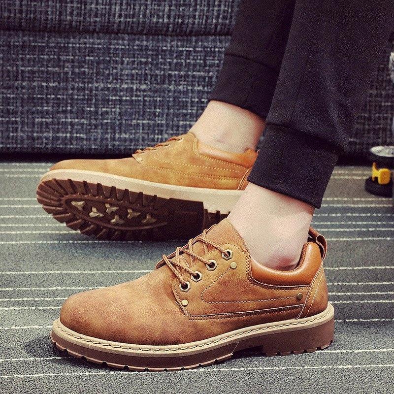Erkekler rahat deri ayakkabı erkekler Martins deri ayakkabı iş güvenliği kış su geçirmez ayak bileği botas 08wt #