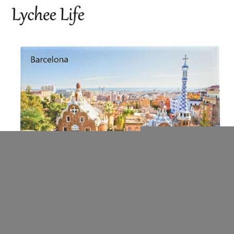 Magnético barcelona escénico refrigerador lichiaje pegatina famosa vida paisaje frigorífico imán de souvenir casa cocina decoratixhs7ck