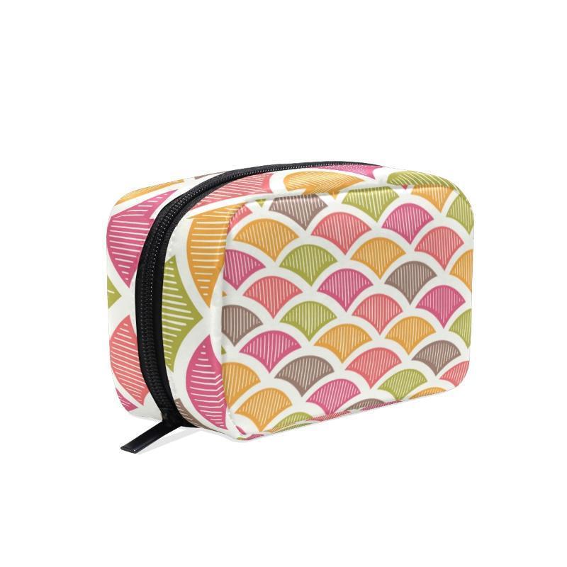 Fengju Maquillaje Cosmetic Bag Portable Bolsa de artículos de aseo Moda Organizador cuadrado para niñas Lady Mujer Retro Geométrico