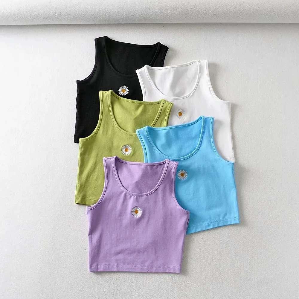 Daisy colete feminino verão fashion expo principal bordado U-pescoço fino curto suspender colete
