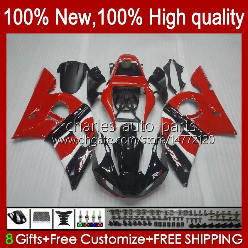 Bodys voor Yamaha YZF-600 YZF R6 R 6 600CC YZFR6 1998 1999 00 01 02 Carrosserie 1NO.12 YZF 600 CC Cowling YZF-R6 98-02 YZF600 98 99 2000 2001 2002 ABS Fairing Kit Rood Wit Blk