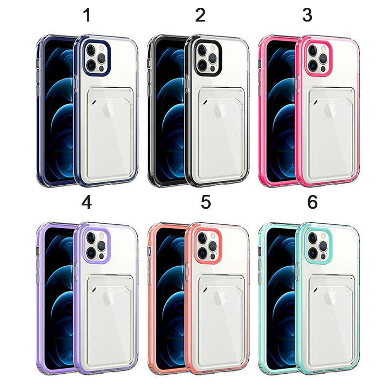 Crsytal Clear Soft TPU Shockproof phone Cases 3 in 1 With Credit ID Card Slot Pocket For Iphone13 12 11 Pro Max XR XS X 7 8 plus Transparent Back case Cover